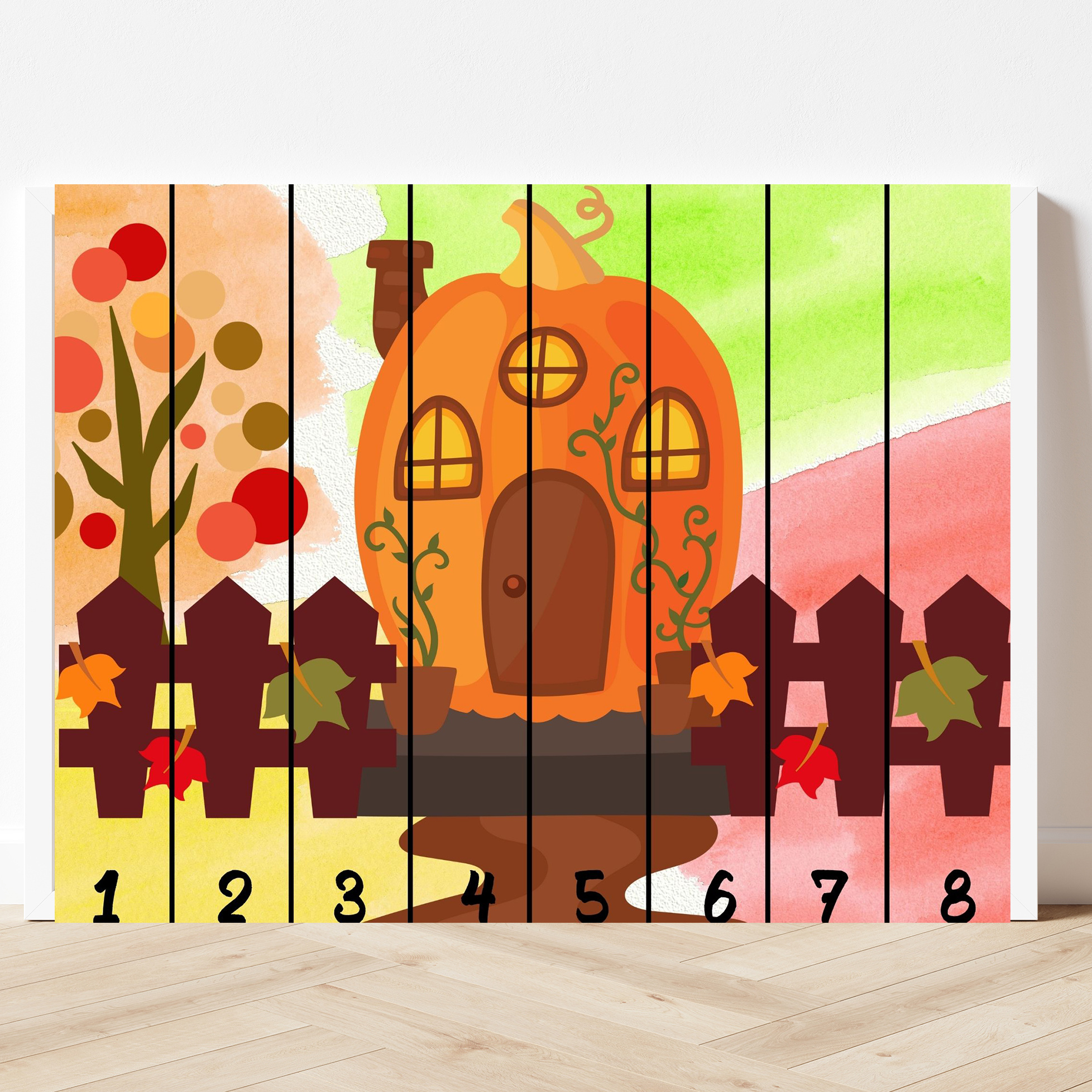 printable pumpkin puzzle with eight pieces