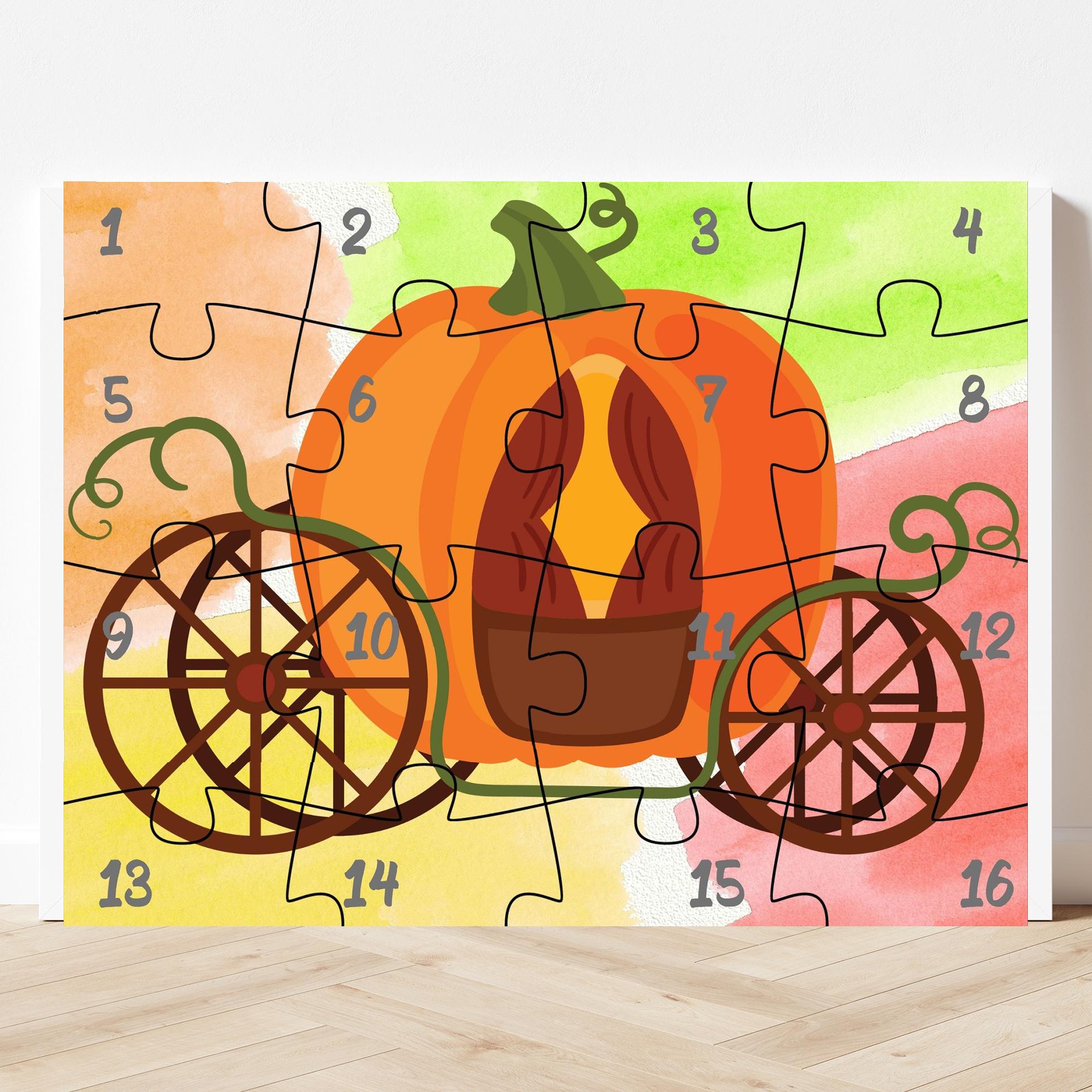 printable pumpkin puzzle with 16 pieces