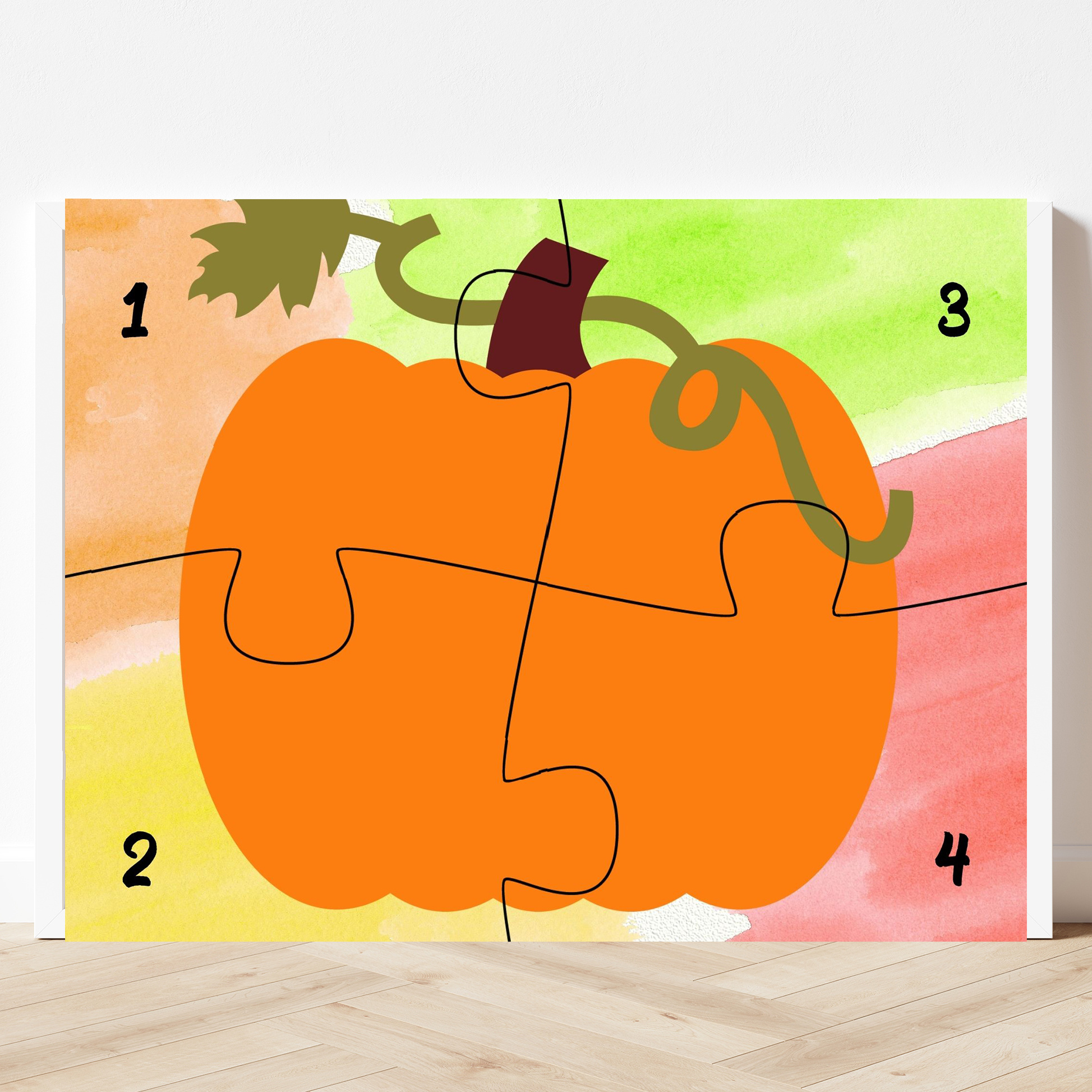 printable pumpkin puzzle with four pieces