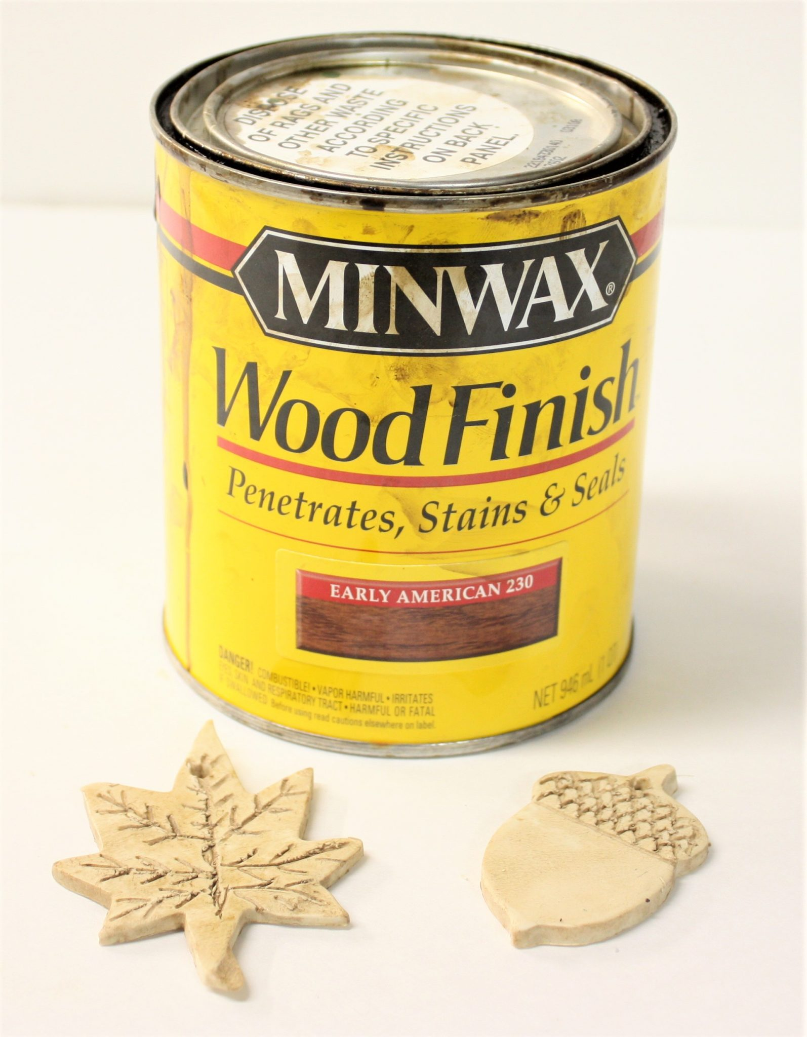Minwax Early American Stain and fall ornaments made from clay