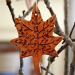 Maple leaf ornament made from clay