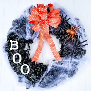 Upcycled Plastic Bag Halloween Wreath