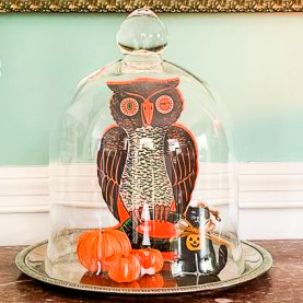 Vintage paper Halloween owl, Halloween cat ornament, and 3 mini pumpkins